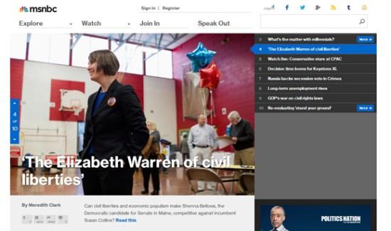 Screenshot of MSNBC.com - 7 March 2014