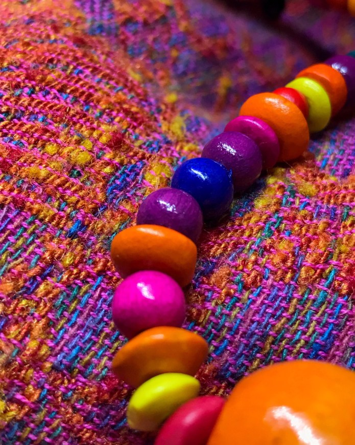 Close up of the beads and the wrap