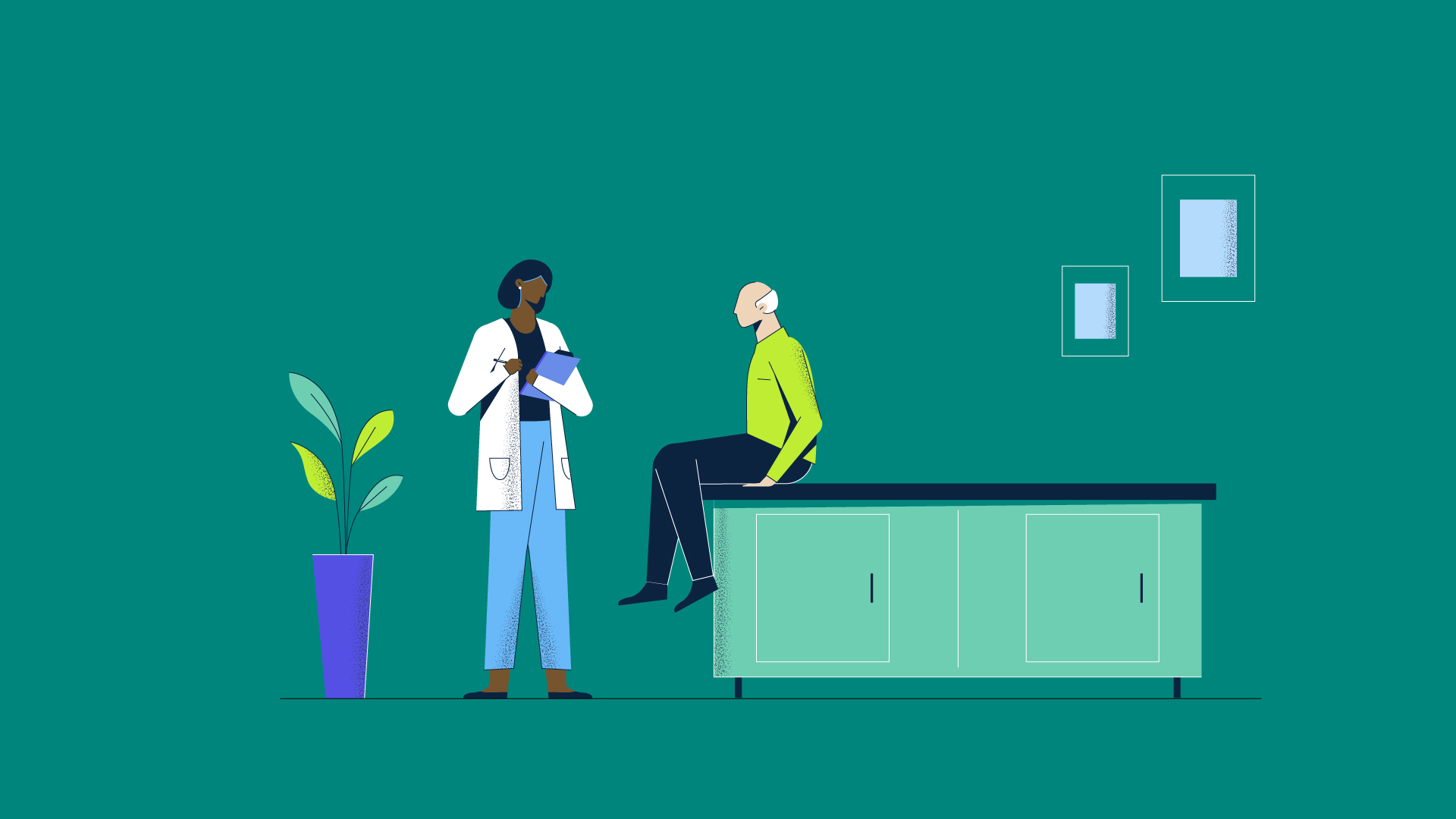 Illustration of a patient talking to doctor in office