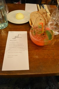 Our evening's menu and a welcome drink