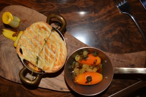 Venison Pie with pickled root vegetables