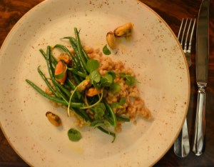 Pearl barley with mussels, I was pretty full by this time. I ate all the mussels and tried the barley.