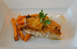 Red snapper and sweet potato fries