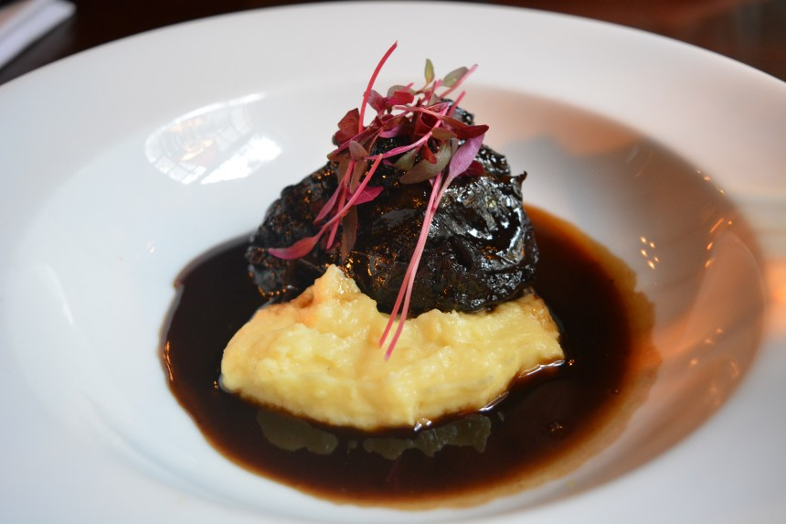 Braised ox cheek with parsnip and honey puree