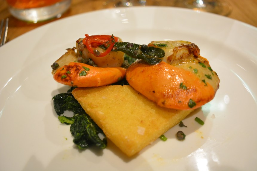 Cape Sante - Scottish scallops w/sage, chilli, anchovies, herb vinegar and fried polenta and braised cima di rape