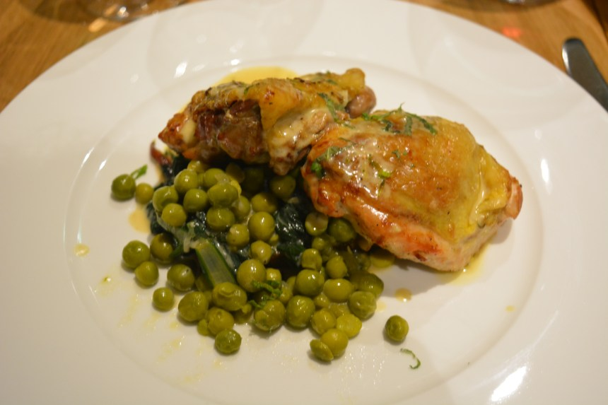 Arrosto di Faraona - Guinea fowl w/prosciutto, mascarpone, thyme and lemon zest on pagnotta Bruscetta and new season Italian peas