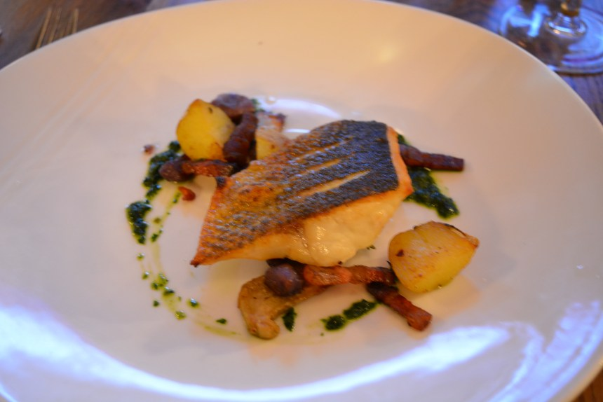 Sea Bass with Potatoes, Artichokes and Salsa Verde