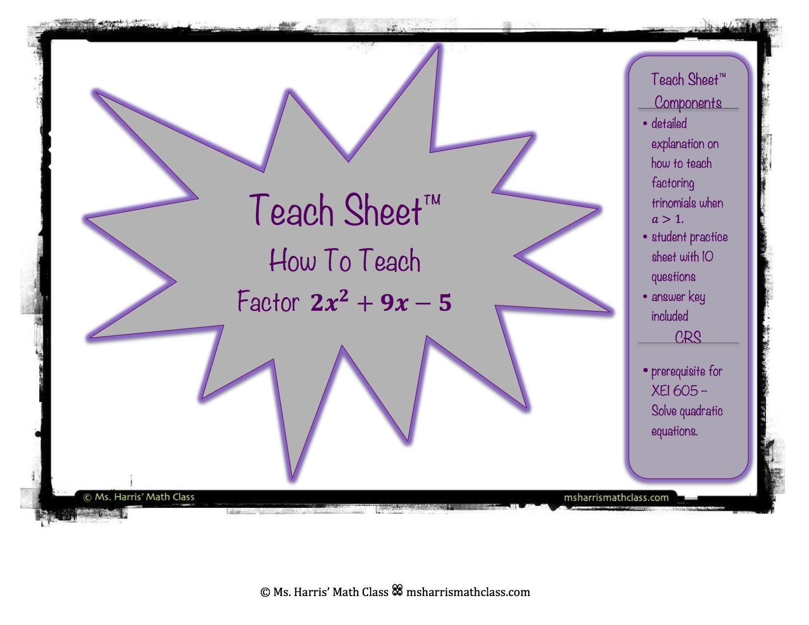 Teach Sheet How To Teach Factoring Complex Trinomials