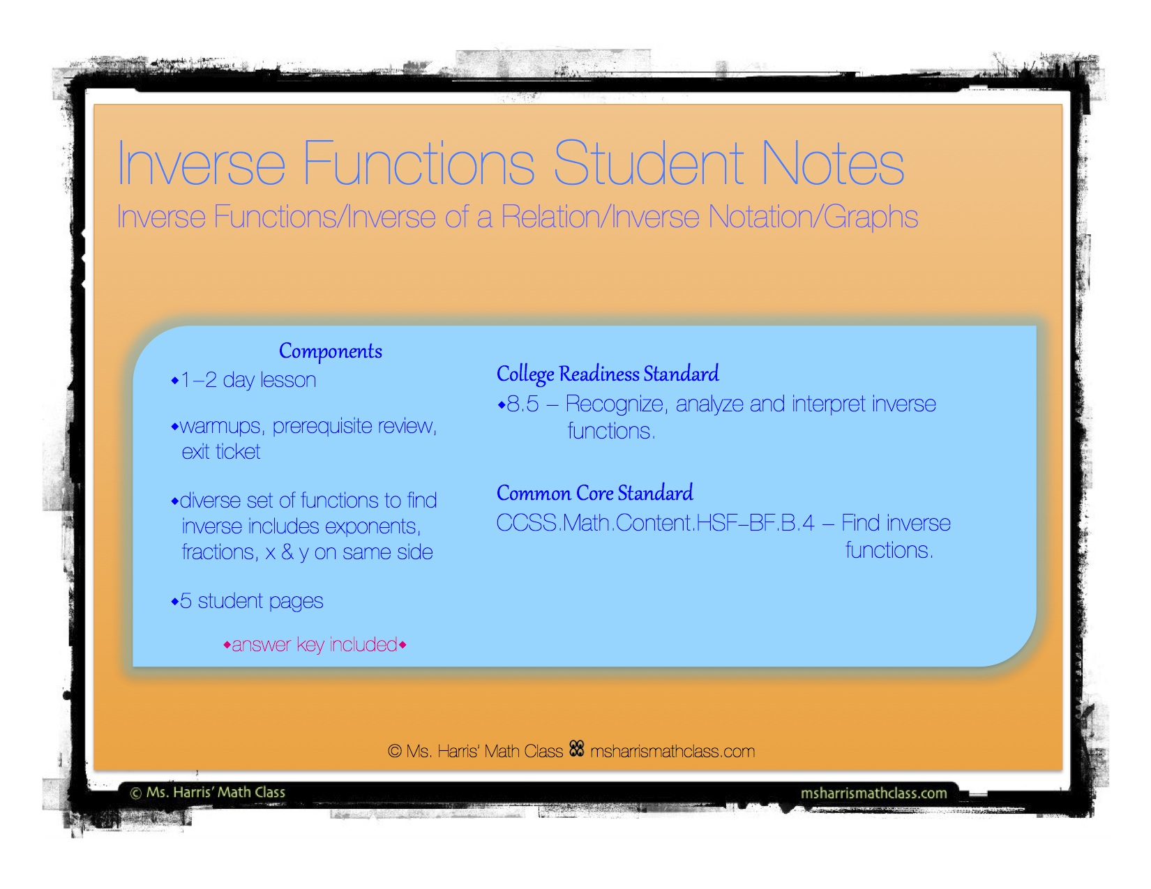 Inverse Functions Interactive Student Notes