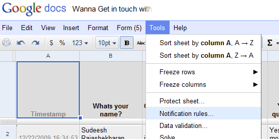 Google Docs - Notification Rules