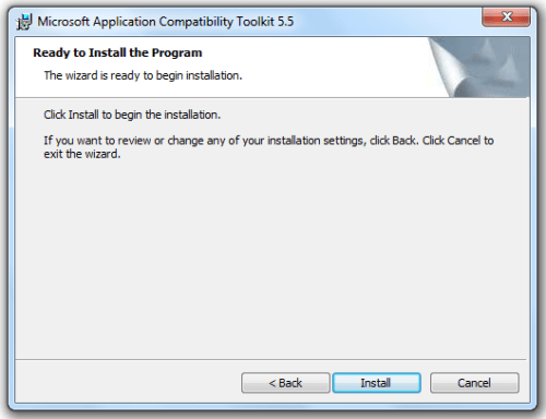 Application Compatibility Toolkit - Installation Complete