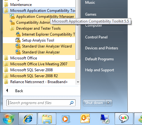Application Compatibility Toolkit - Programs and Softwares