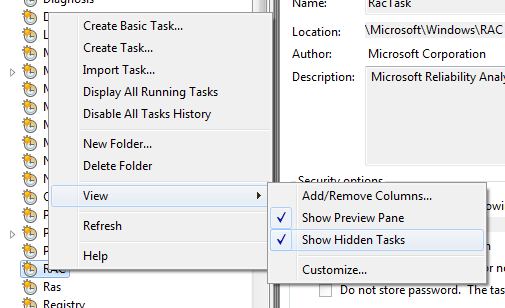 Show Hidden Tasks for RAC - Task Scheduler
