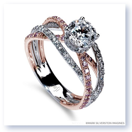 18K White And Rose Gold Triple Band Crossover Pink And