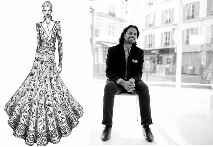 (left) A sketch by the designer; (right) Rahul Mishra