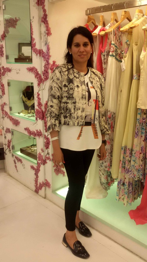 Sanya Dhir, brand director Diva'ni poses with the latest monsoon collection