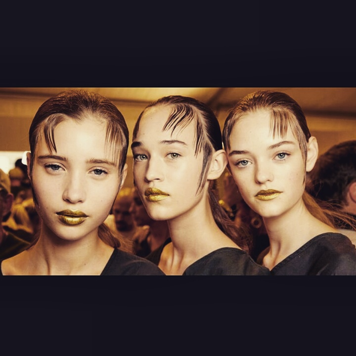 #trendalert Gold lipstick was a remarkable makeup trend at @prada Spring 16 runway at the  Milan Fashion Week. Would you give it a try? Yes or No, let us know!