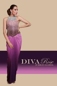 A model showcases an ensemble from Diva Rose by Simran Agarwal