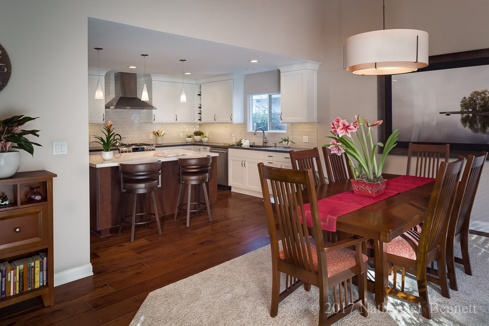 Transitional Open Plan Kitchen Dining Family Room
