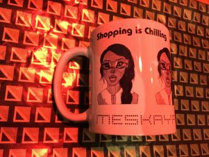 mskyh shopping is chilling mug with catfaces