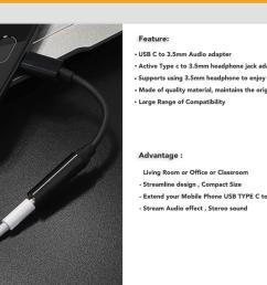 type c to 3 5mm headphone jack adapter supports using 3 5mm headphone to enjoy music this adapter supports you connect devices to listening music that use  [ 1580 x 822 Pixel ]