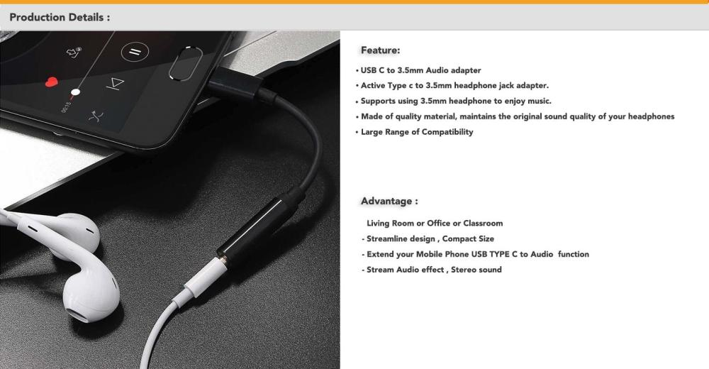 medium resolution of type c to 3 5mm headphone jack adapter supports using 3 5mm headphone to enjoy music this adapter supports you connect devices to listening music that use