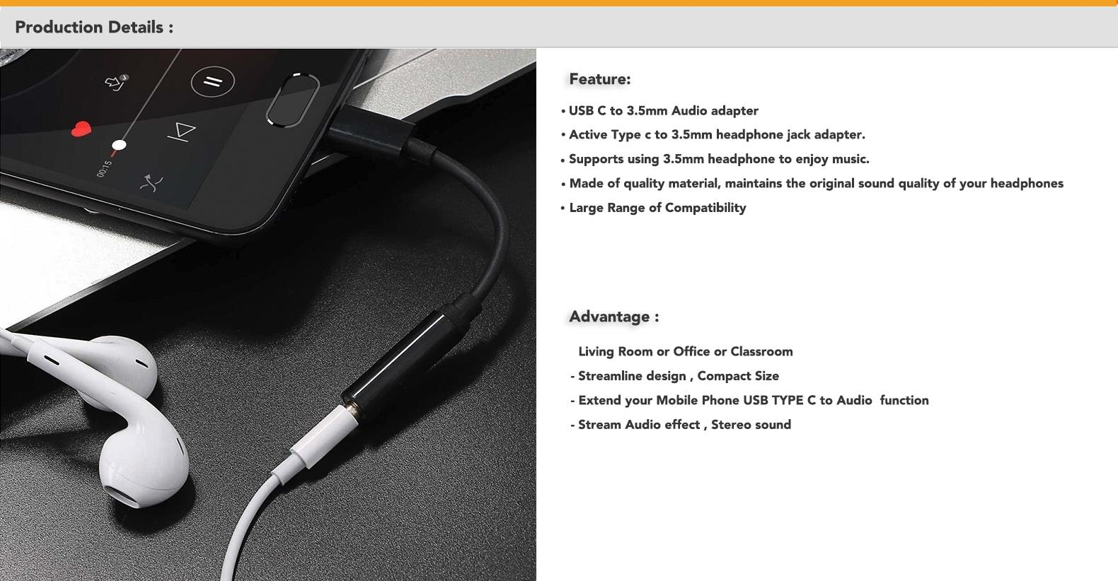hight resolution of type c to 3 5mm headphone jack adapter supports using 3 5mm headphone to enjoy music this adapter supports you connect devices to listening music that use