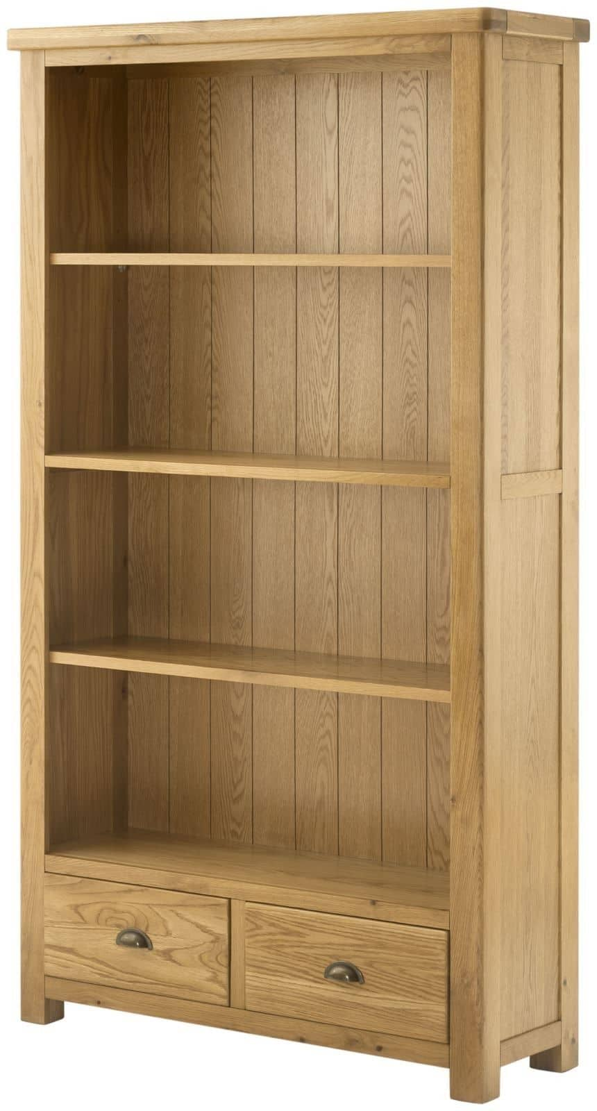 Oxford Solid Chunky Rustic Oak Open Large Wide Bookcase Display Unit