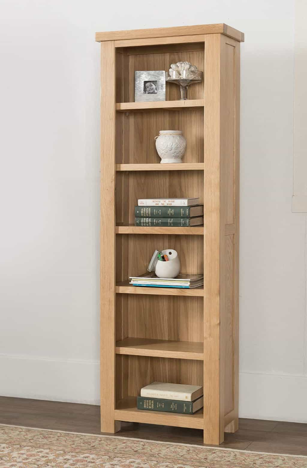 Valencia Solid Wood Chunky Oak Slim Narrow Open Bookcase Display Unit