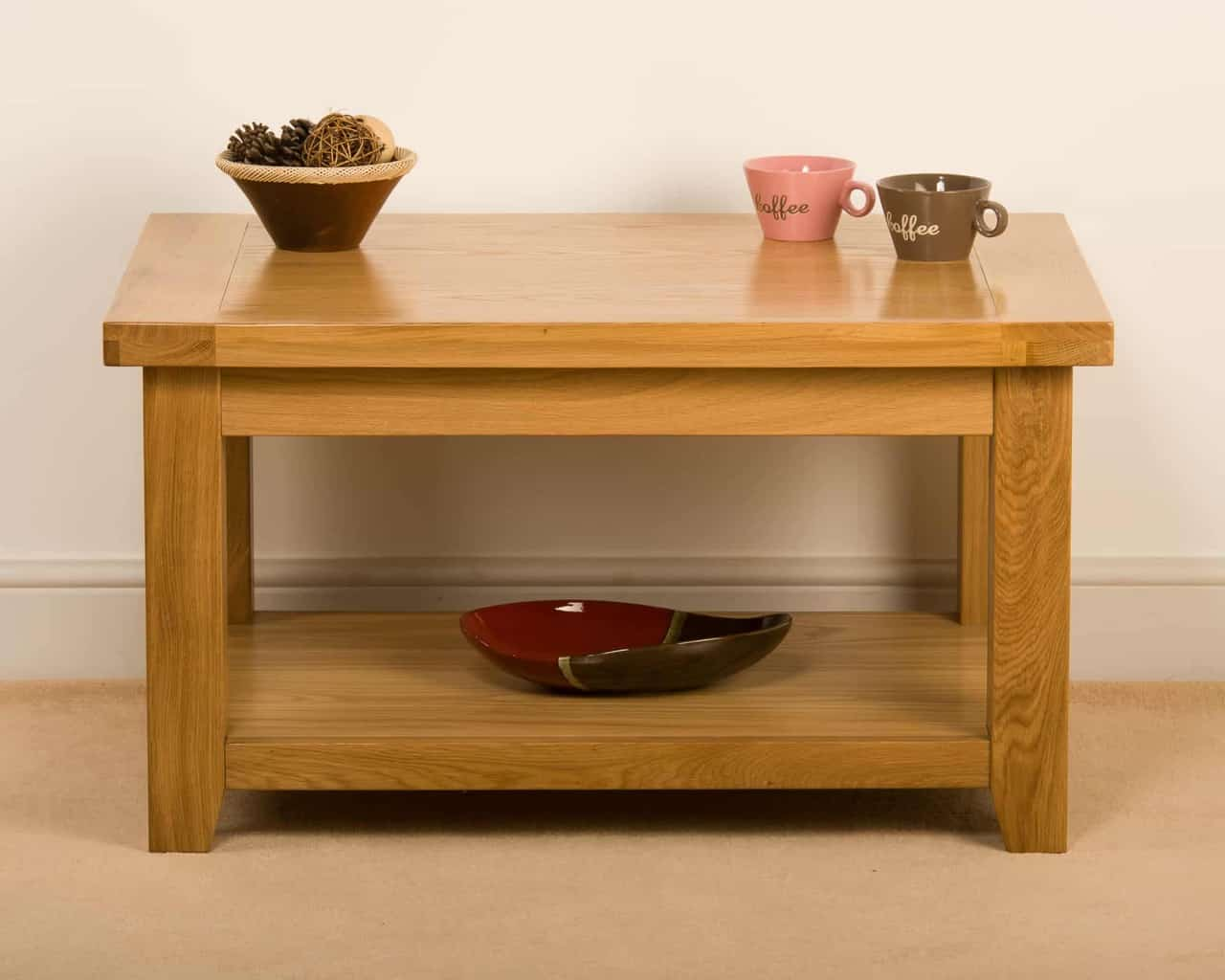 Devon Solid Wood Chunky Oak Small Coffee Table With Shelf