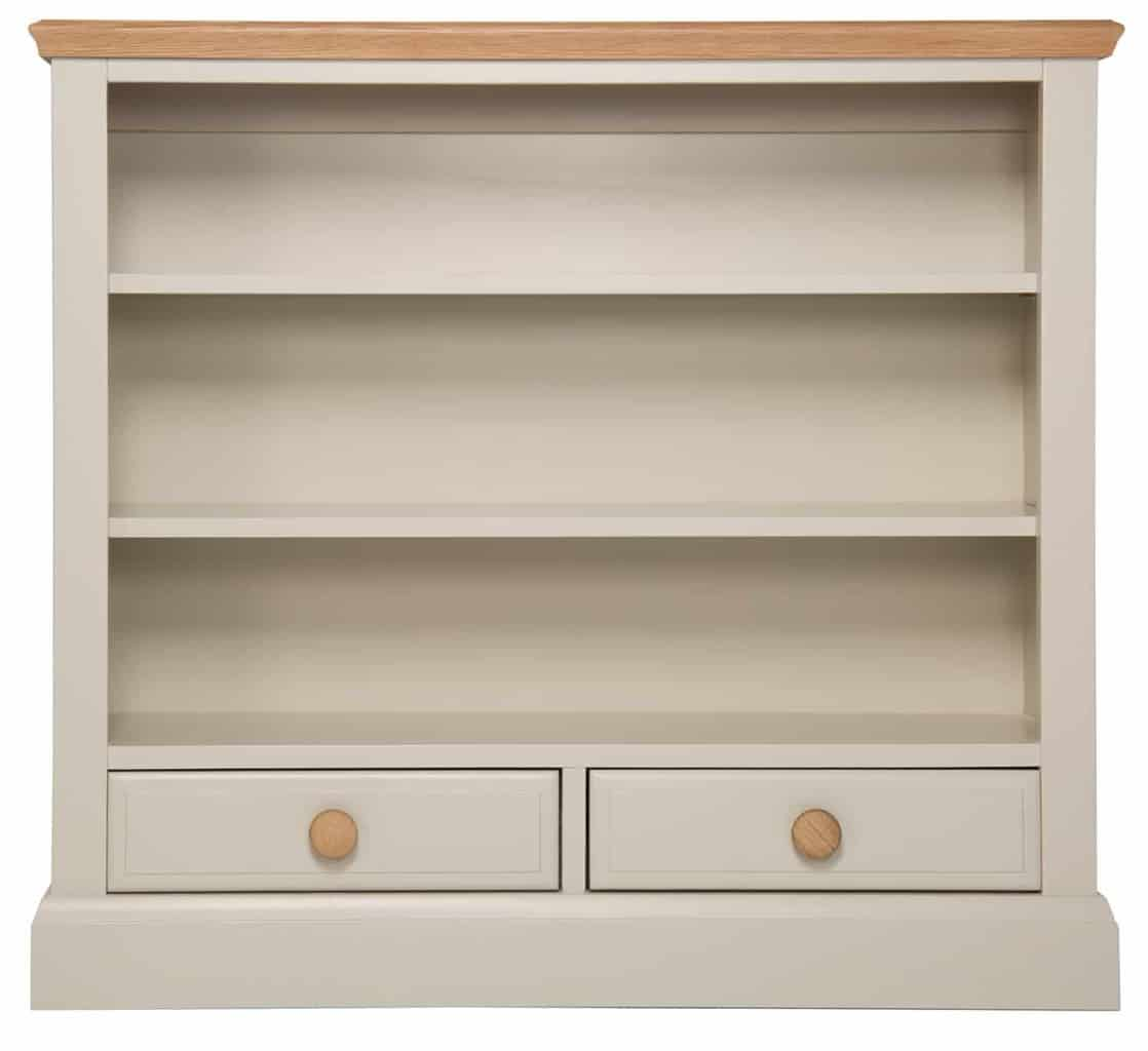 Dorset Stone Painted Oak Small Low Open Bookcase Display Unit With Drawers