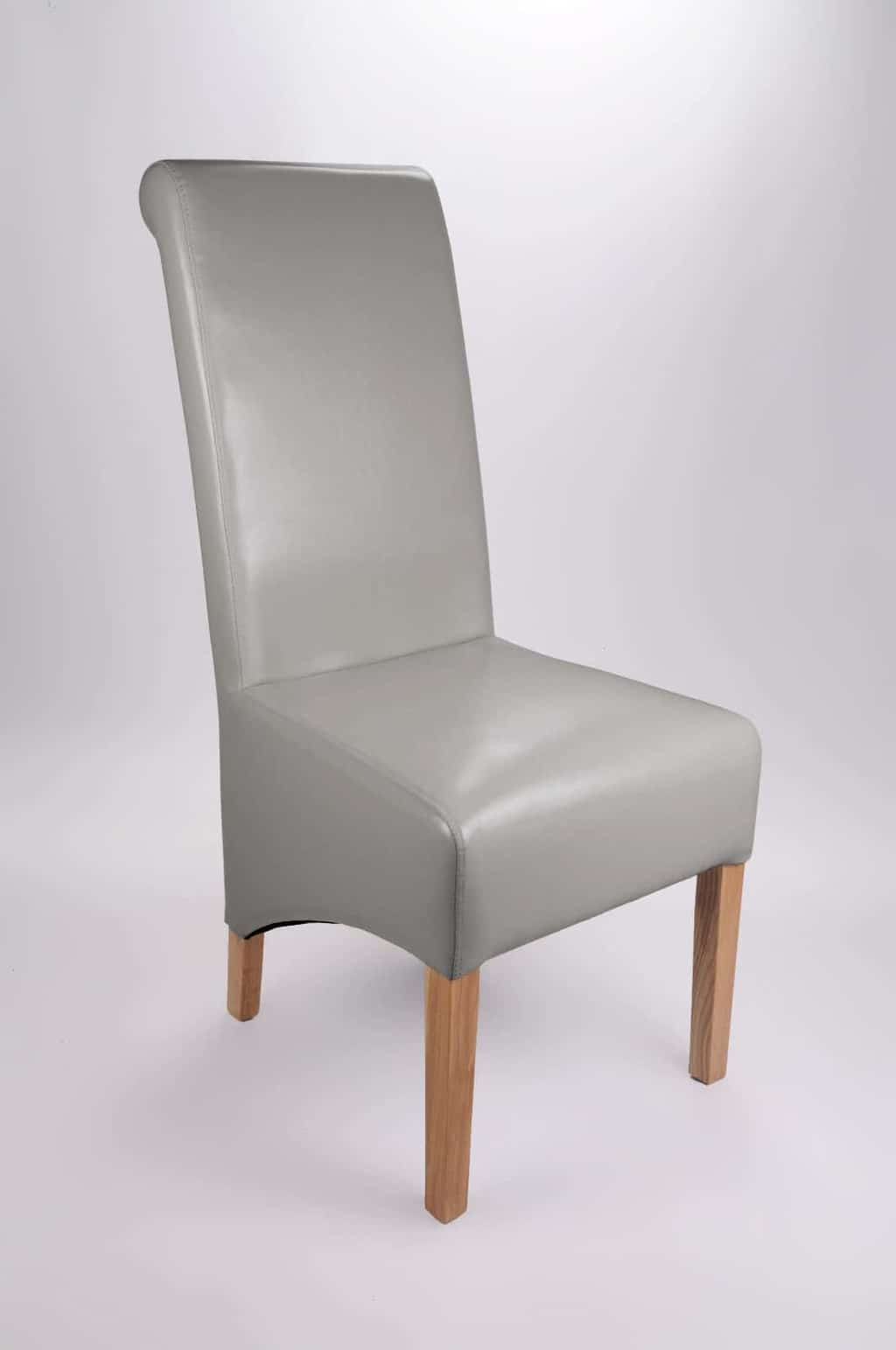 grey leather recliner chair uk bar chairs with backs set of two bonded oak legs high roll back