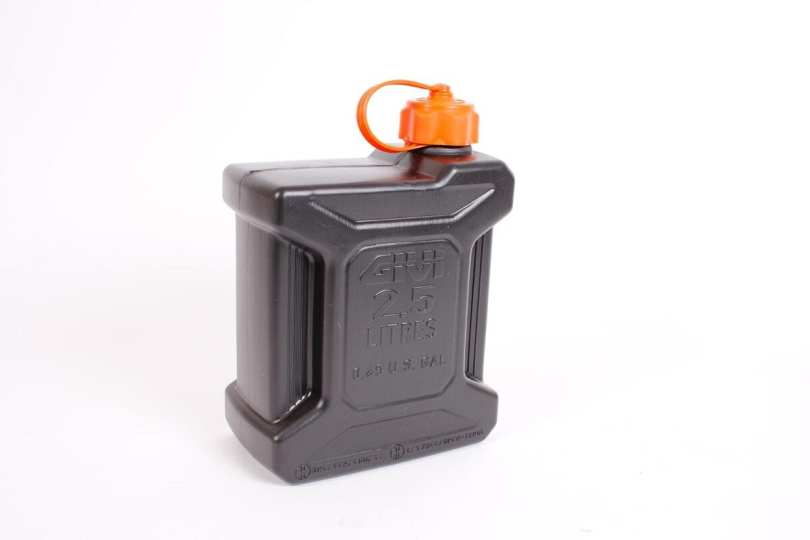 A 2.5 litre Givi jerry can proved to be unnecessary, but it gave me good peace of mind.