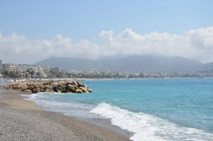 The Beach at Nice, France, with The French Alps in the Distance