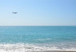 Plane over Côte d'Azur,  Mediterranean Sea, Nice France