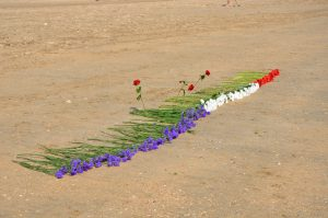 Flowers on the Beach to Honor the Soldiers, Normandy, France