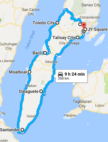 South Cebu roadtrip route