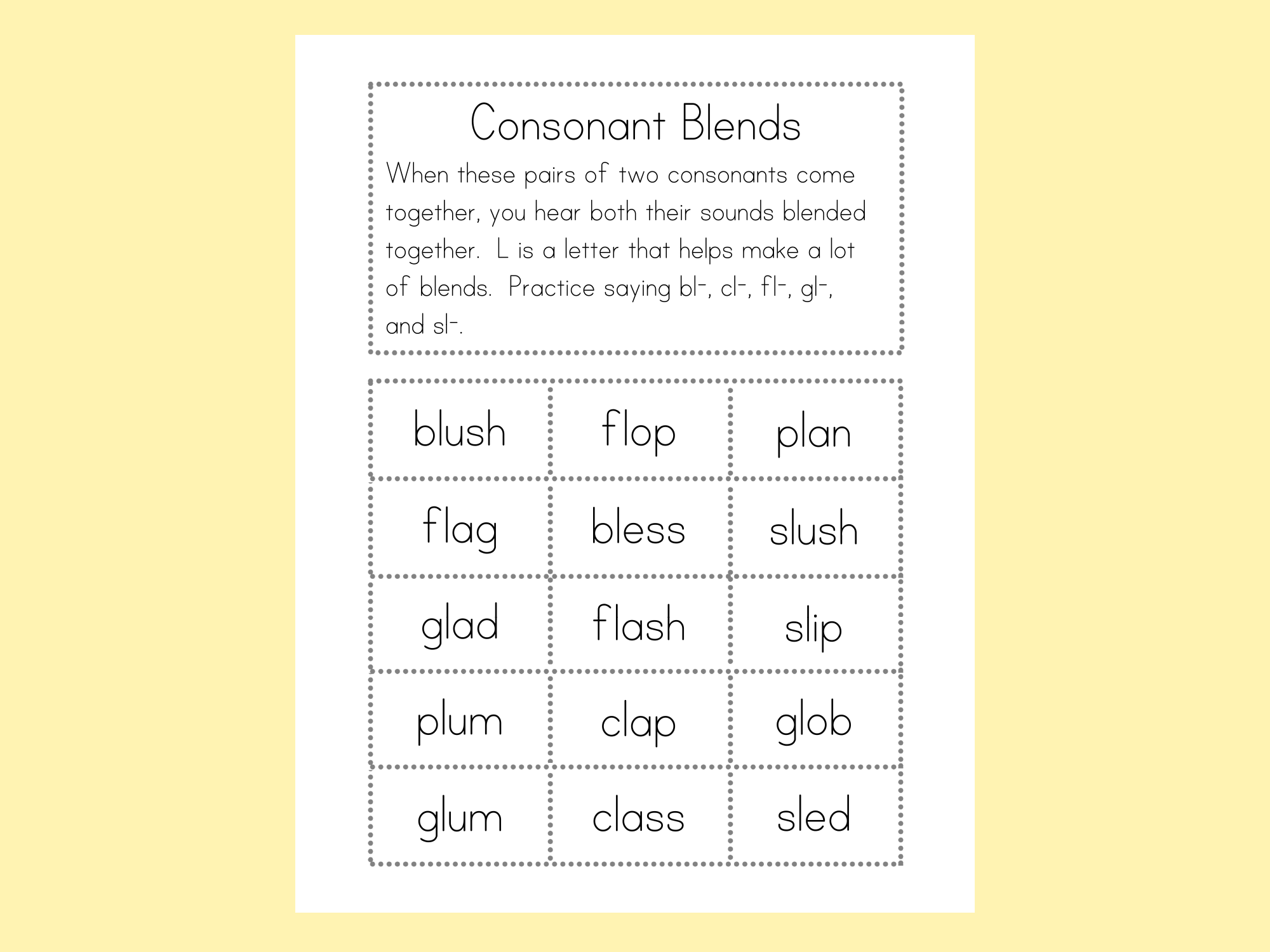 Blends Word Sort