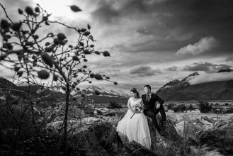 Black and White photo of bride and groom by Mount Cook