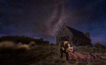 Milky way wedding photo