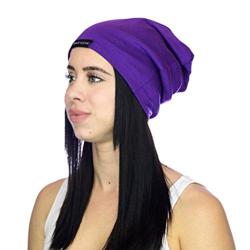 ef2923957b2 Grace Eleyae SLAPS – Satin Lined Caps (Slouchy Satin Lined Beanies) – Purple
