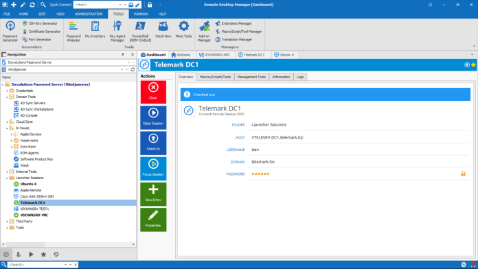 Remote Desktop Manager Dashboard