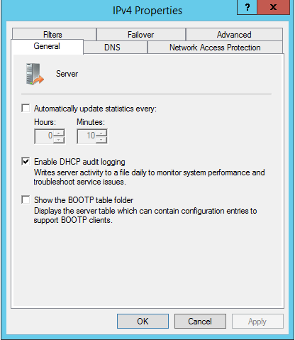 Enable DHCP Log