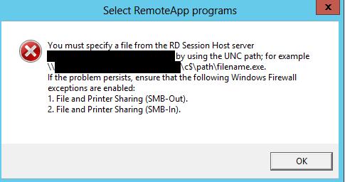 RemoteApp Network Error