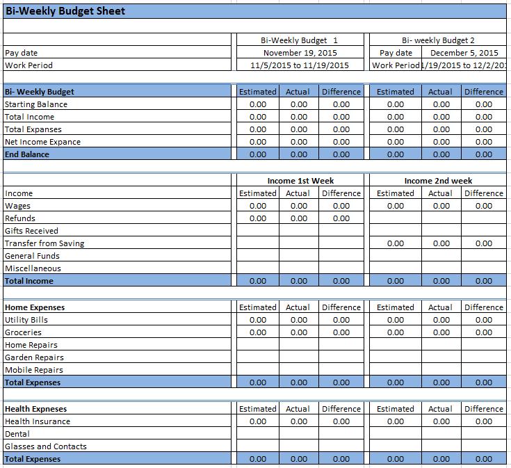 23  free bi-weekly budget templates
