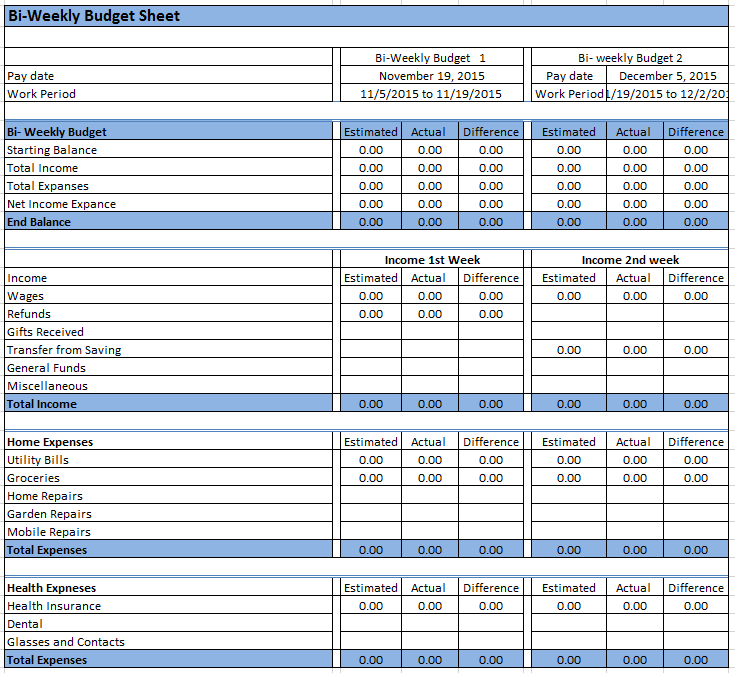 graphic relating to Bi Weekly Budget Printable identified as 26+ Absolutely free Bi-Weekly Finances Templates - MS Place of work Data files
