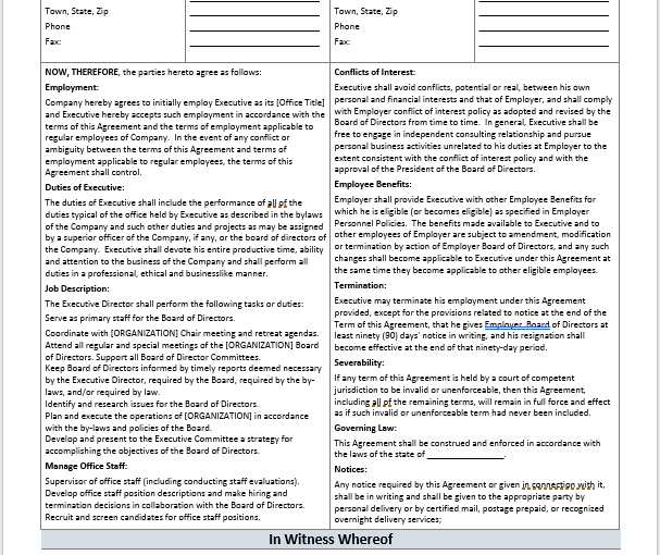 ceo employment contract template - printable employment agreements archives ms office documents