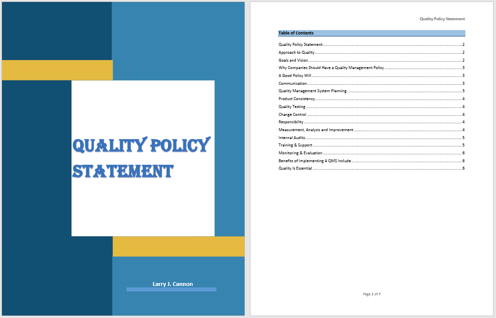 quality policy format
