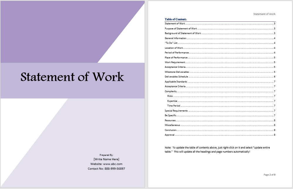 Statement of work template ms office documents for How to write a statement of work template