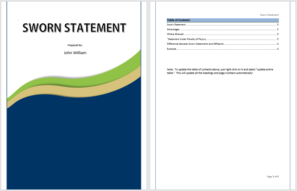 Free Sworn Statement Template (17 Templates) - MS Office Documents